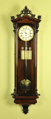 Exceptional Triple Weight Biedermeier Vienna Regulator Wall Clock