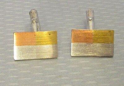 60s modernist MEXICO 925 CUFFLINKS tricolor silver inlay rectangle signed RBZ