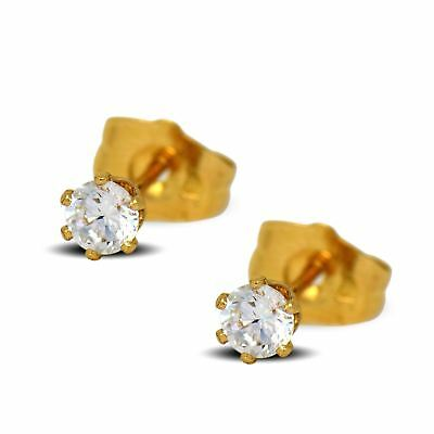 0b18ccfeb2749e Tiny 18ct Yellow Gold Filled Womens Stud Earrings Girls Round 4mm White  Crystals