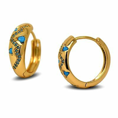 18ct Gold Filled Womens Hoop Earrings with Inlaid Turquoise Pattern 18K GF