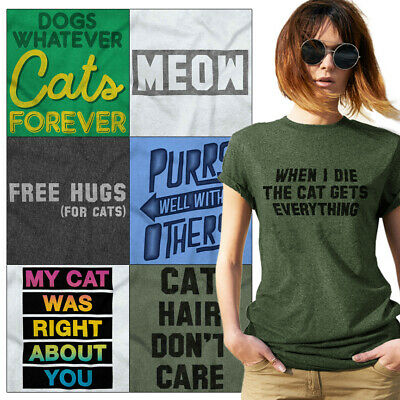 82a8fb9fe Crazy Kitty Lady Tees Shirt Womens T-Shirt For Ladies Cute Tees Shirts Gift  T