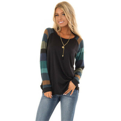 Womens Autumn Long Sleeve Blouse T-shirts Loose Patchwork Shirts Tops Tee N7