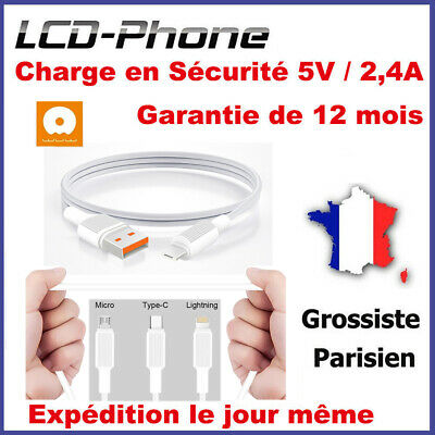 Câble Chargeur USB 2.4A Charge Rapide Nylon Tressé iPhone Samsung HUAWEI Sony LG