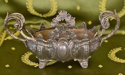 Beautiful Antique French Spelter Planter / Jardiniere, Ivy Crest, Chateau Chic