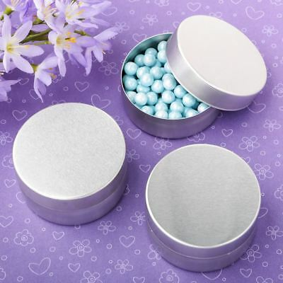 Brushed silver metal mint tin with solid silver metal brushed top