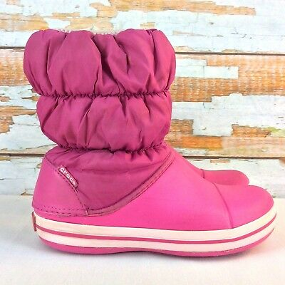 "8513a1b963826 CROCS Winter Puff Snow Boots Girls Youth Size 3 Pink Waterproof 8"" Pull On"