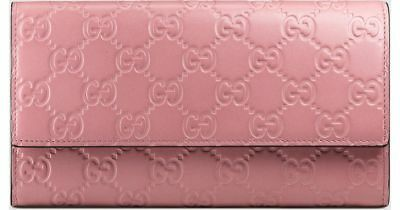 9a8253273c4 Gucci Signature Rose Baby GG Large leather flap over wallet Pink Box Italy  New