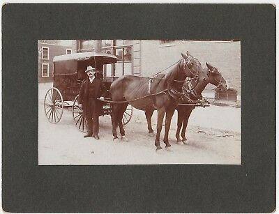 RARE Photo Merchant w Advertising Wagon & Horses - Haskell - Glens Falls NY 1890