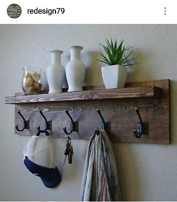 Wooden Coat Hook Rack, Rustic Style with Vintage Iron Double Hooks