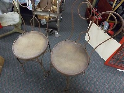 Vintage Set Ice Cream Parlor Chair Antique Twisted Metal Wood Seat
