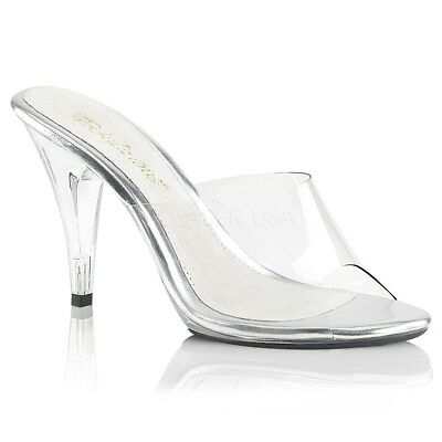 6ccd45d5803 FABULICIOUS CARESS 401 Clear Slip On Slide Mules, Bikini Fitness Posing  Shoes