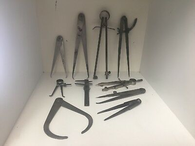 Vintage Dividers Calipers Machinist Wood Working Lot L@@K!!!