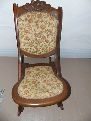 Vintage Victorian Folding Rocking Chair Antique 19th century