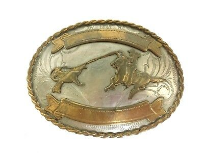 Handmade Nickle Silver Cowboy Western Calf Roper Etched Lasso Belt Buckle
