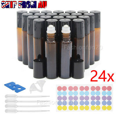 24 Amber THICK Glass Roller Bottles 10ml Big Steel Roll on Ball Essential Oils