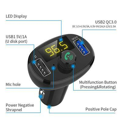 QC3.0 Wireless Bluetooth Car USB Charger FM Transmitter Radio Adapter MP3 Player