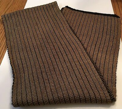 Men's Isotoner Gold/Black Ribbed Knit Scarf