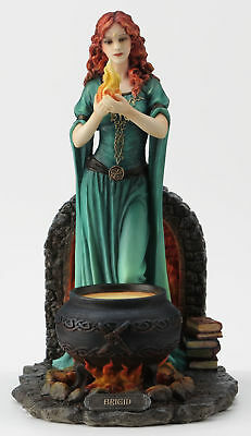 Brigid Celtic Goddess Of Hearth & Home w/ Sacred Flame Figure Statue Sculpture