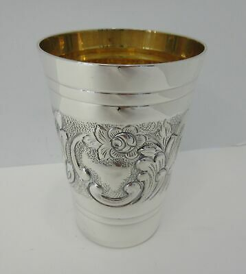 Fine 925 Sterling Silver & Gilded Handmade Chased Swirl Floral Matte & Shiny Cup