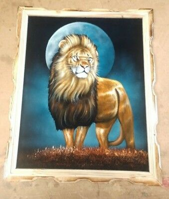 "LION FACE, Hand Painted , VELVET PAINTING , 18"" BY 22"" W , FRAME , Home decor ,"