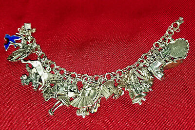 Vintage Sterling Silver Charm Bracelet w/ 25 Charms From 50's 60's, some Disney