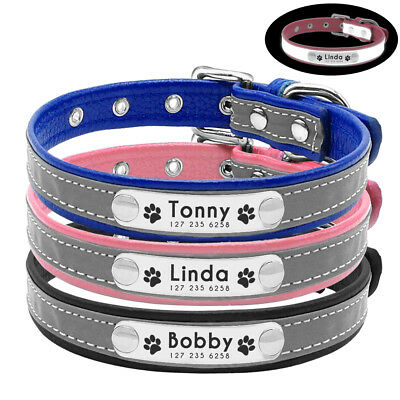 Personalized Leather Dog Collars Reflective Name Phone Engraved for Pets Cat S-L