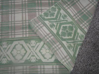 "BEACON SOUTHWEST Green Plaid Trading COTTON CAMP BLANKET REVERSIBLE 67""x 70"""