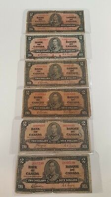 Bank Of Canada 1937-5-$2 Rare Notes Selling 1 Note $25 Each