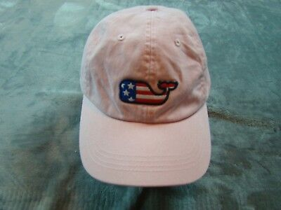 51e50c47f5d Vineyard Vines Adjustable Baseball Hat Cap Strapback Pink Whale USA Flag