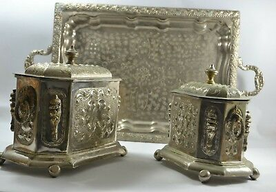 Antique ARABIC moroccan signed collection silver Lidded bowl FINE silver plate