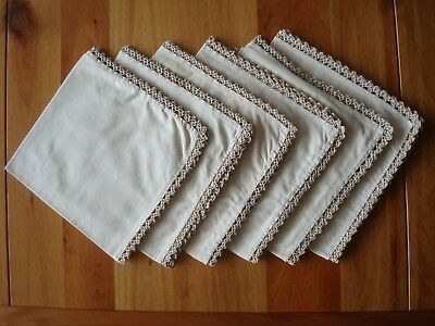 SET OF 6 COTTON NAPKINS WITH CROCHET EDGES - NEVER USED - CIRCA 1950s