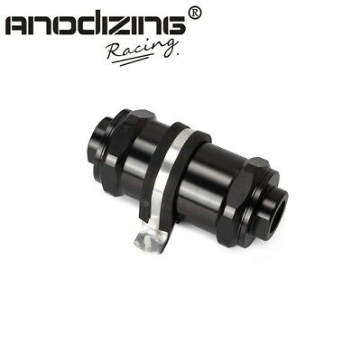 BLACK  Inline Fuel Filter E85 Ethanol With 100 Micron Stainless steel element