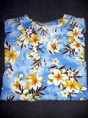 Tropical Flowers Blue Cotton Scrub Top size Med 34-36