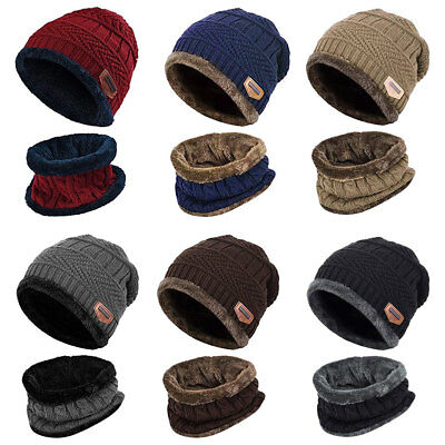 Women Mens Warm Winter Knitting Hat N Scarf Set Thicken Skullcaps Neck Warmer