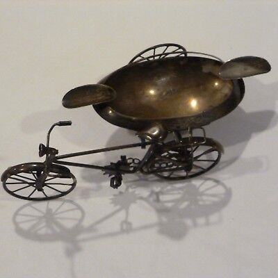 VINTAGE 1940s J GRATACOS MEXICO STERLING SILVER BICYCLE WITH SIDECAR  ASHTRAY