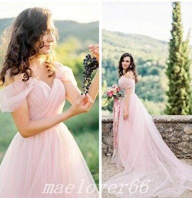 Blush Pink Beach Wedding Dresses Off The Shoulder Sashes Backless Bridal Gown