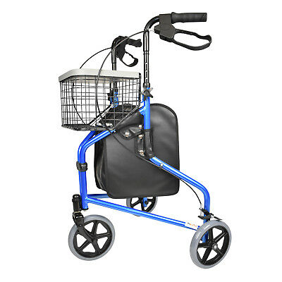 Walker 3 Wheel Rollator Folding Walking Frame Outdoor Indoor Mobility Aid New