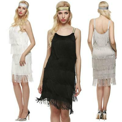Ladies 1920s Roaring 20s Flapper Costume Sequins Gatsby Dress Up