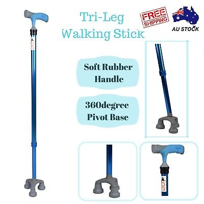Blue Walking Stick Cane Height Adjustable with Soft Grip Free Standing AU