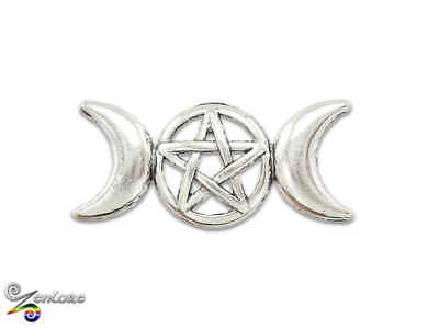 Triple Moon Goddess Celtic Knot Pentacle Pagan Witch Wicca Lapel Hat Tie Pin