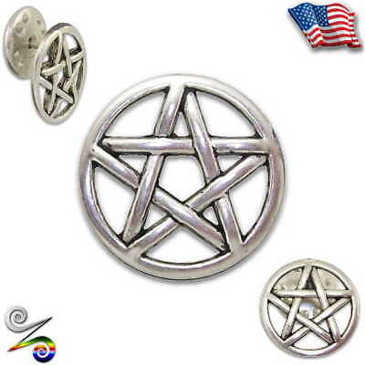 Pentacle Pentagram Pagan Wicca Druid Witch Magick Star Lapel Hat Tie Pin Brooch