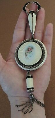 Rare Sterling Silver Guilloche Enamel Vanity Compact  F & B ~ Foster & Bailey