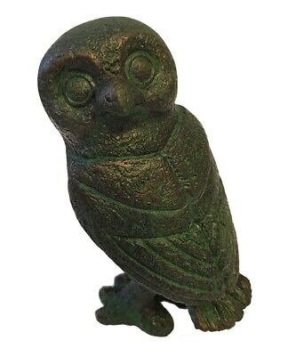 Ancient Greek Owl Head Turned Miniature Statue Museum Replica Athena Minerva