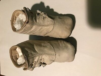Antique Vintage 1930's High Button White Leather Baby Shoes 4 inches