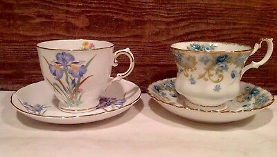 Vintage Pair Of Royal Albert & Tuscan Fine Bone China Tea Cups & Saucers