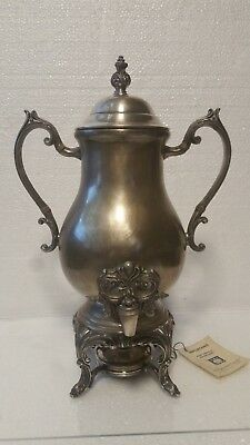 Vintage Silver Plated Copper Hot Water Urn Somovar Footed F.B Rogers Silver Co.