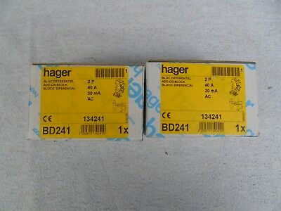 2 Réf BD241 BLOC DIFFERENTIEL HAGER 2P 40A 30mA type AC 230 - 400V NEUF