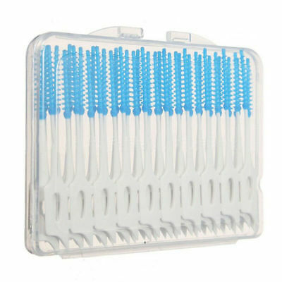 40 Pcs Soft Rubber Floss Inter Dental Brush Disposable Teeth Stick Toothpick Box
