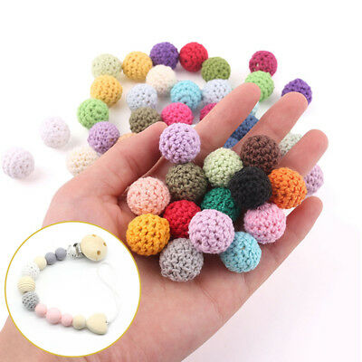 Baby Yarn Ball Teething Decor Wooden Crochet Teether 16mm Toy Non-toxic Colorful