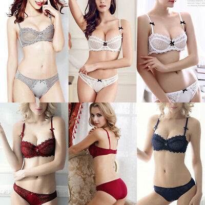 Womens Half Cup Lace Bra Set Transparent No Padded Sexy Balcony Underwear Bras